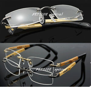 Luxury Pure Titanium Eyeglass Frame Bamboo Temple Rimless Glasses Spectacles Rx