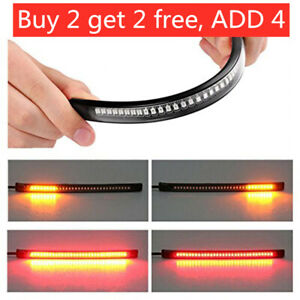 48 LED Motorcycle Light Strip Rear Tail Brake Stop Turn Signal Lamp Bar Flexible