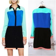 I Love Ronson Large Color Block Shirt Dress Long Sleeve H-54