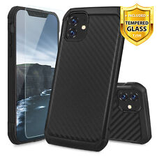 For Apple iPhone 11/Pro/Max Hybrid Carbon Fiber Phone Case Cover +Tempered Glass
