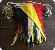 Genuinely Vintage Old Bunting - 15 Metres - Multi Colour Linen Triangles 1940's