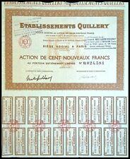 Etablissements Quillery, actions de 100 Nouveaux Francs 1963 - N°0024581