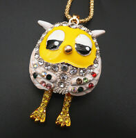 Betsey Johnson Yellow White Enamel Crystal Cute Owl Pendant Sweater Necklace