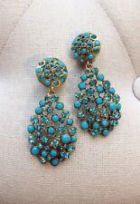 Signed Oscar De La Renta Blue Teardrop Crystal Earrings
