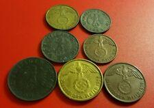 Nazi 7 Coin Set 1-2-5-10 Pfenning Coins II WW Original III Reich 03