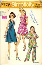 Vintage 1970 Simplicity # 8776 Sewing Pattern: Misses Dress In Two Lengths Pants