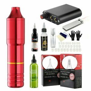Rotary Tattoo Machine Pen Kit Power Supply 20Pcs Needle Cartridges w/ Ink US