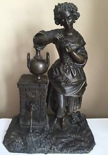Beautiful Antique  Bronze Sculpture Of Girl At The Well With Flowers c. 19th C