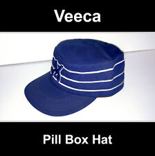 COOL Mens Veece Pill Box Hat Blue Painters Cap Skate Striped Hip Hop Military LA