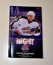 COLUMBUS BLUE JACKETS VS. CHICAGO BLACKHAWKS 10/10/2002 NHL GAME PROGRAM