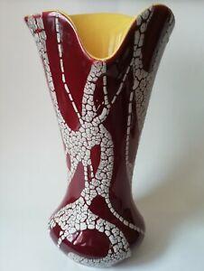 Vase vintage céramique décor émaillé peau de serpent intérieur jaune NON SIGNÉ