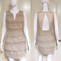BCBG MAX AZRIA CHAMPAGNE FIONNA Tiered Lace Sheer back DRESS IKQ6T310 Cocktail