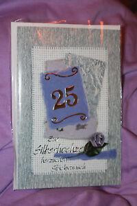 1 Grußkarte - Zur Silberhochzeit + Umschlag - Ehe 25 Jahre Grüße basteln OVP