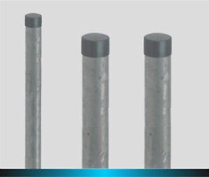 Rohrpfosten,Pfosten, Stahl, feuerverzinkt, 6 cm ø, mit Kappe 1,5m, 1,75m