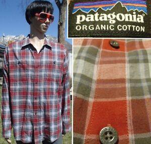 PATAGONIA lightweight flannel button shirt soft organic cotton red plaid mens XL