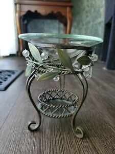 """Party Lite Wrought Iron Votive Candle Holder W/ Olive Leafs 5 1/2""""H Tea light"""