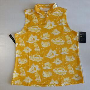 Nike Golf Womens Dri Fit Sleeveless Polo Print Yellow Sz XL AV3680-743