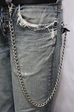Men Silver Long Wallet Metal Chain Link KeyChain Classic Chunky Basic Jean Biker