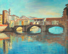 """Listed Nino Pippa Oil Painting Forence Ponte Vecchio Seago Interest 24""""X30"""" COA"""