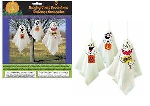 3 Hanging Ghosts Decorations Outdoor Indoor Halloween Party