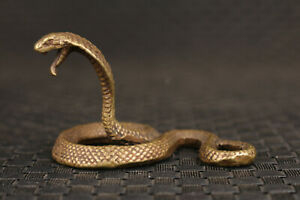 chinese old bronze snake figure statue netsuke collectable art fengshui