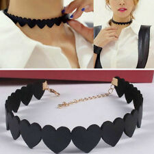 Womens Punk Black HEART Necklace Velvet Choker Statement Chunky Collar Pendants