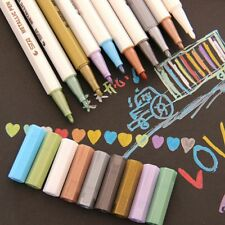 10x Metallic Pencil Set Doodle Marker Album Sketch Water Color Drawing Brush Pen