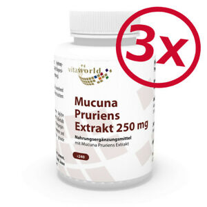 Vita World 3er Pack Juckbohne Extrakt 250mg 3 x 240 Kapseln Mucuna Pruriens