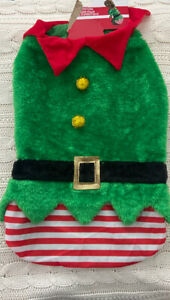 Green Faux Fur & Satin Christmas ELF Dog Costume for Large Dog NWT