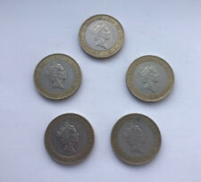 RARE 1997 Queen With Necklace £2 Two Pound Coin Job Lot X5 (Free UK Delivery)