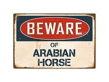 "Beware Of Arabian Horse 8"" x 12"" Vintage Aluminum Retro Metal Sign VS025"