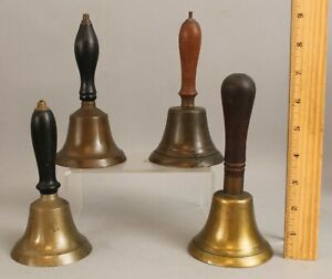 4 Small Antique 19th Century Handheld Bass Call Bells  ...  No Reserve