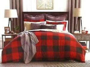 Tommy Hilfiger BUFFALO PLAID 3P Red Black full queen comforter Shams Set