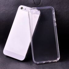 For Apple iPhone 5 5S Clear Gel Rubber TPU Soft Back Case With Free Glass Cover