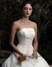 CASABLANCA $1499 NEW 16 IVORY SATIN BEADED STRAPLESS A-LINE WEDDING DRESS