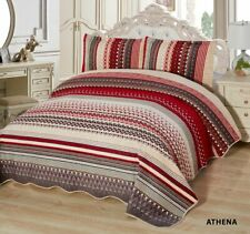 3-Pcs Super Soft KING Quilted Reversible VELVET Bedspread Coverlet Set - ATHENA