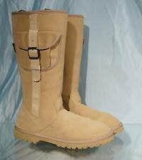 """Very Nice Beige Suede Wool Lined CABELA's 14"""" Tall Side-Zip Cargo Boots Sz 10M"""