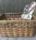 Large Vintage Woven Wicker Rattan Basket Red White Blue 18