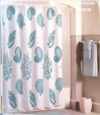 Bleeker & Main ANTIGUA Fabric Shower Curtain Aqua White Seashells Conch Coral