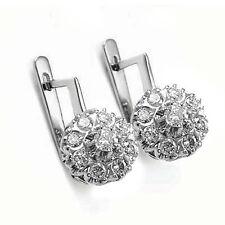 14k Solid White Gold Genuine Diamond Old Russian Style Malinka Earrings #E1277