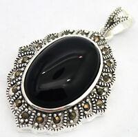 Retro Black Agate Gemstone Marcasite 925 STERLING SILVER PENDANT