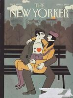 APRIL 1 2013 NEW YORKER vintage magazine - COUPLE, BENCH
