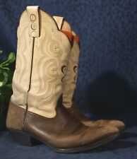 TONY LAMA 3R Bone Shaft Chocolate Foot 5002L Double Scallop Cowboy Boots Sz 9B