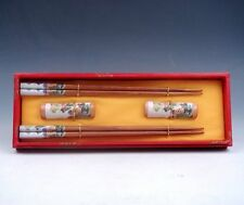 Gift Set 2 Pairs China Great Wall Painted Wooden Chopsticks w/ 2 Holders