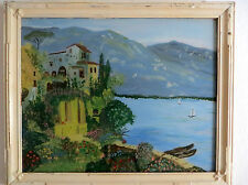 PAINTING.     REVERSE GLASS.     IMAGE OF LAKE SCENARY.    CIRCA 1940'S--1950'S