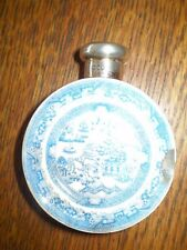 RARE ANTIQUE BLUE WILLOW PERFUME CONTAINER, BOTTLE WITH STERLING SILVER TOP