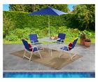 6 Piece Umbrella Garden Furniture Patio Dining Set Outdoor Deck Table Chairs New
