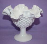 Vintage Fenton White Milk Glass Hobnail Candy Dish / Compote