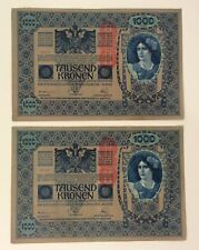 Austria Hungary 2 banknotes - 1000 Tausend Kronen from 1902 - 37712 - 37713