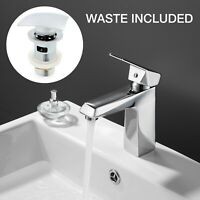 Modern Square Basin Sink Tap Mixer Chrome Mono Lever Bathroom Taps with Waste